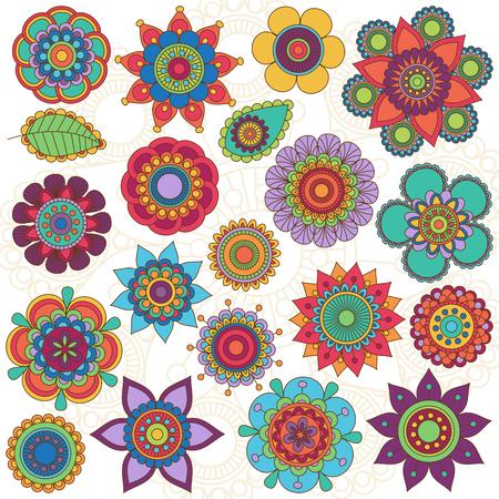 Vector Het verzamelen van Doodle stijl Bloemen of Mandala's Stock Illustratie