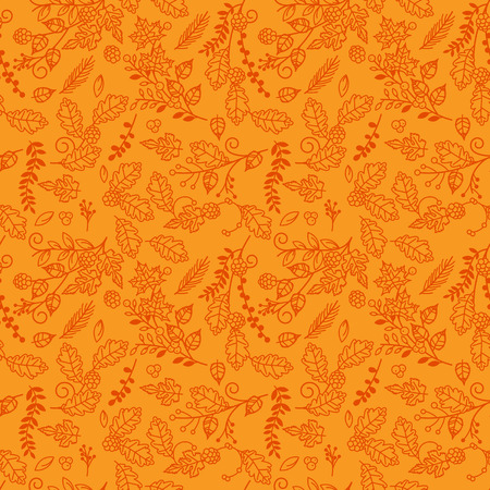 holiday celebrations: Fall, Autumn or Thanksgiving Vector Flower Pattern - Seamless and Tileable Illustration