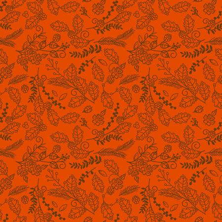 Fall, Autumn or Thanksgiving Vector Flower Pattern - Seamless and Tileable Illustration