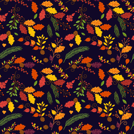 laurel leaf: Fall, Autumn or Thanksgiving Vector Flower Pattern - Seamless and Tileable Illustration