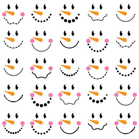 Vector Collection of Cute Snowman Faces