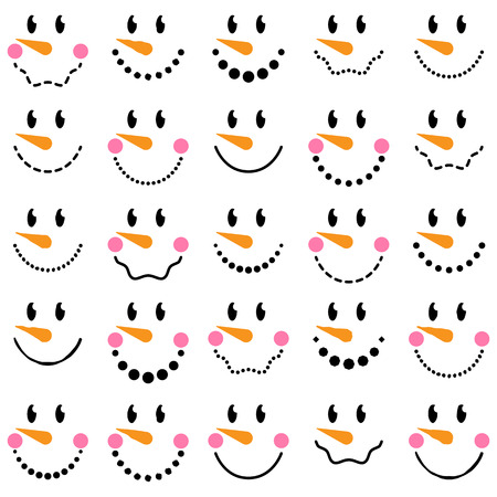 vectors: Vector Collection of Cute Snowman Faces