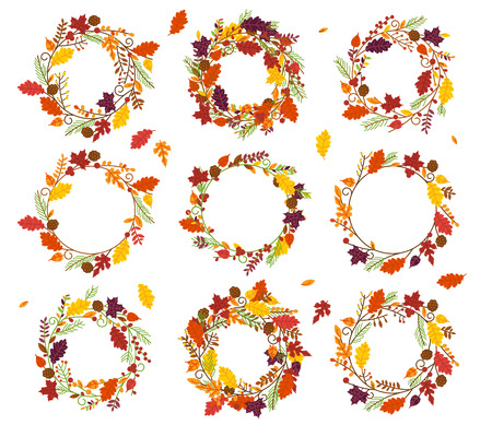 Vector Collection of Thanksgiving, Autumn or Fall Themed Wreaths and Frames Çizim