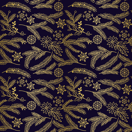 evergreen: Seamless Vector Pattern of Faux Gold Foil Christmas Holiday Florals