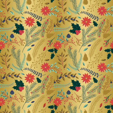 Seamless Vector Pattern of Faux Gold Foil Christmas Holiday Florals