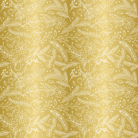faux: Seamless Vector Pattern of Faux Gold Foil Christmas Holiday Florals