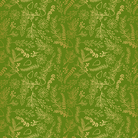 tileable: Seamless Vector Pattern of Faux Gold Foil Christmas Holiday Florals