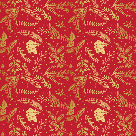 berries: Seamless Vector Pattern of Faux Gold Foil Christmas Holiday Florals