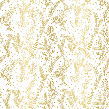 gold background: Seamless Vector Pattern of Faux Gold Foil Christmas Holiday Florals