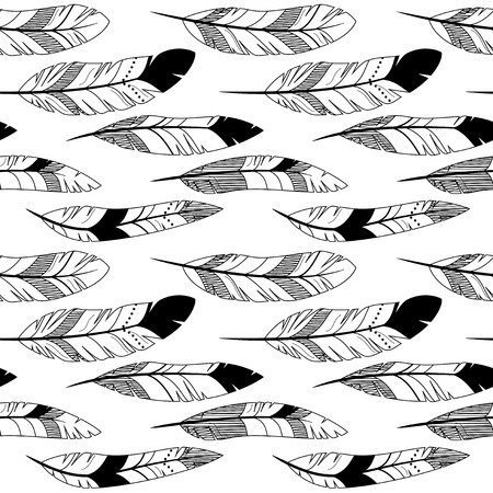 black feather: Vector Feather and Arrow Background Pattern - Seamless and Tileable Illustration