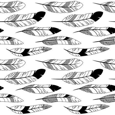 Vector Feather and Arrow Background Pattern - senza saldatura e Piastrellabile