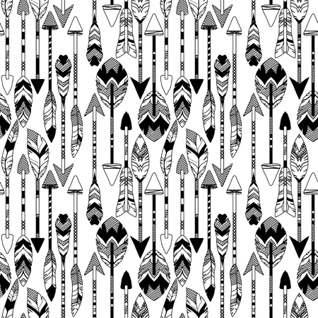 Vector Feather and Arrow Background Pattern - Seamless and Tileable Illustration