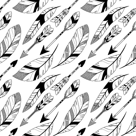 vector pattern: Vector Feather and Arrow Background Pattern - Seamless and Tileable Illustration