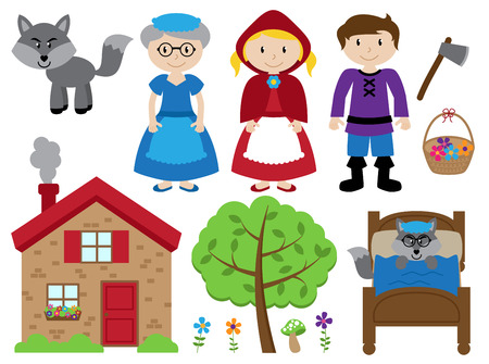 Little Red Riding Hood Themed Vector Collection 版權商用圖片 - 51042881