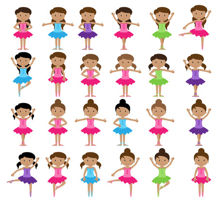 stage costume: Ballet Themed Vector Collection with Diverse Girls Illustration