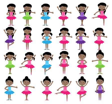 Ballet Themed Vector Collection with Diverse Girls Vettoriali