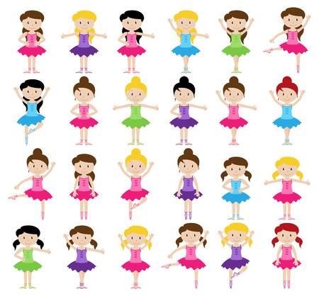 Ballet Themed Vector Collection with Diverse Girls Ilustração