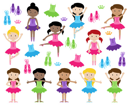 Ballet Themed Vector Collection with Diverse Girls Illustration