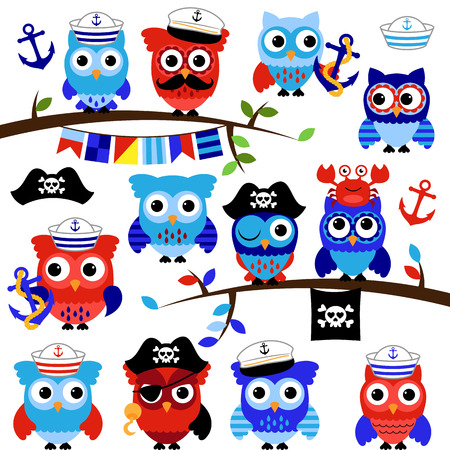 cruise travel: Nautical, Sailor and Pirate Themed Vector Owls