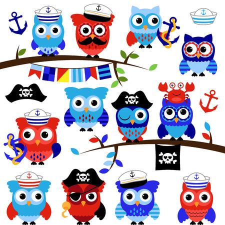 Nautisch, Sailor en Pirate Themed Vector Owls