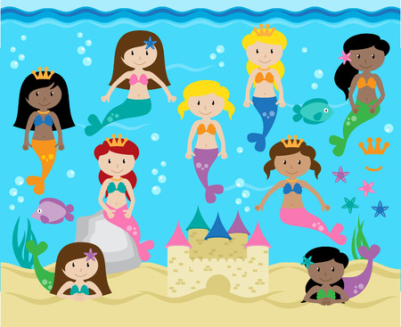 Collection of Cute Mermaids with Background