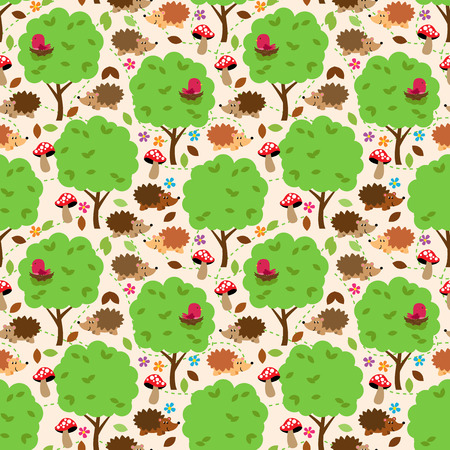 bush babies: Seamless, Tileable Forest Animals Vector Background Pattern