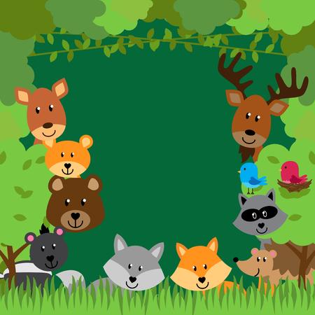 baby footprint: Forest Animals Vector Background