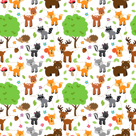forest animals: Seamless, Tileable Forest Animals Vector Background Pattern