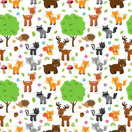 animales del bosque: Sin fisuras, enlosable bosque Animales del vector del fondo del modelo