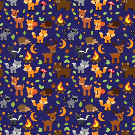doe: Seamless, Tileable Forest Animals Vector Background Pattern