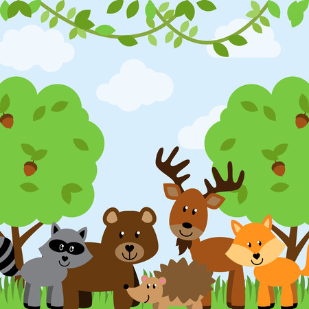 bush babies: Forest Animals Vector Background