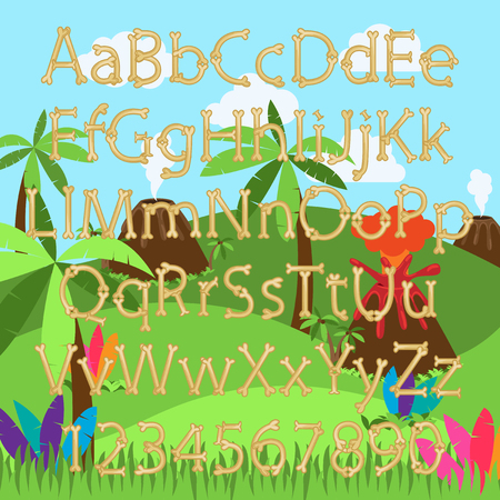 volcano mountain: Dinosaur Bone Alphabet in Vector Format with a Prehistoric Background Landscape