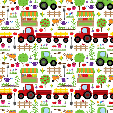 agricultural equipment: Seamless, Tileable Farming or Gardening Themed Vector Background Pattern Illustration