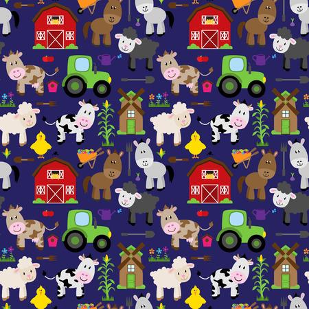 animal pattern: Seamless, Tileable Farm Animal and Barnyard Background Pattern Illustration