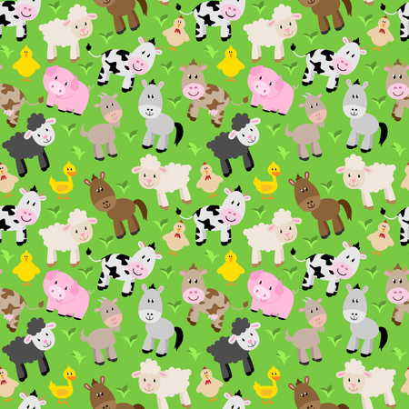 Seamless, Tileable Farm Animal and Barnyard Background Pattern Ilustrace