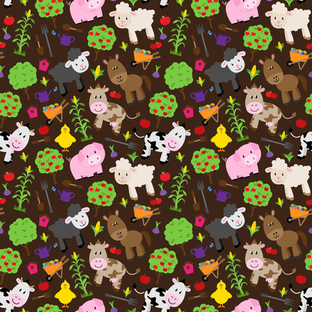 barnyard: Seamless, Tileable Farm Animal and Barnyard Background Pattern Illustration