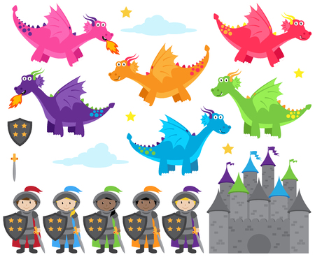 Collection of Dragon and Knights Themed Images Stock Illustratie
