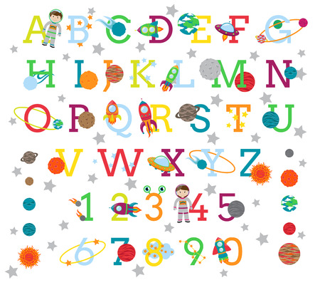 educativo: Espacio Alfabeto con los 8 planetas y el Sol Vectores