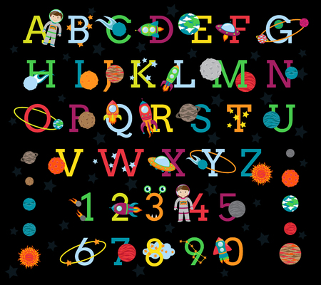 space invaders: Space Alphabet with All 8 Planets and the Sun