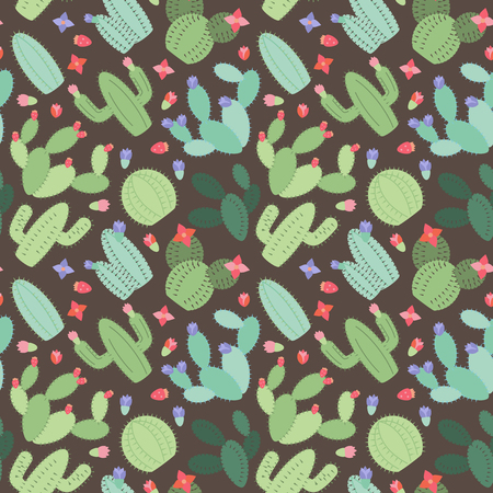 prickly fruit: Seamless, Tileable Background with Cactus and Succulents Illustration