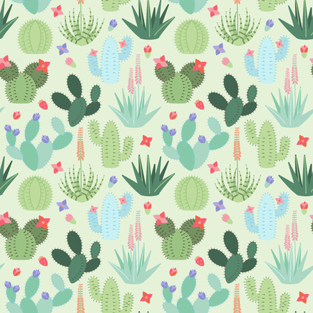 Seamless, Tileable Background with Cactus and Succulents Illustration