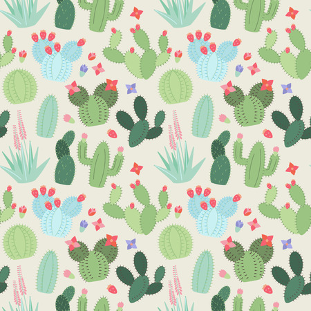 prickly: Seamless, Tileable Background with Cactus and Succulents Illustration