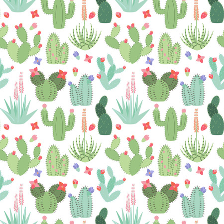 thorn bush: Seamless, Tileable Background with Cactus and Succulents Illustration