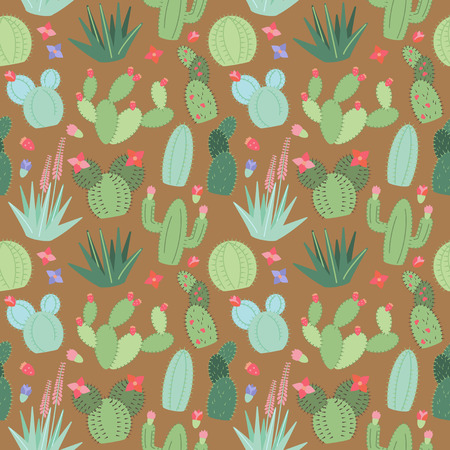 Seamless, Tileable Background with Cactus and Succulents Reklamní fotografie - 57725747