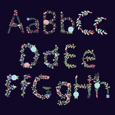 floral alphabet: Vintage Style Floral Alphabet with Uppercase and Lowercase Letters, and Numbers