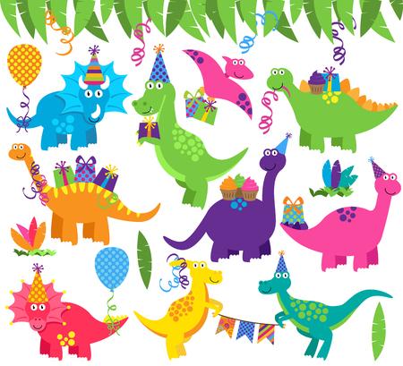 Sammlung von Geburtstagsfeier oder Party-Dinosaurier und Dekorationen