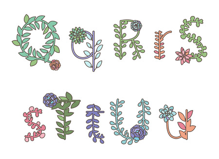 thorn bush: Collection of Detailed Succulent or Cactus Letters and Alphabet