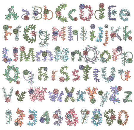 Collection of Detailed Succulent or Cactus Letters and Alphabet