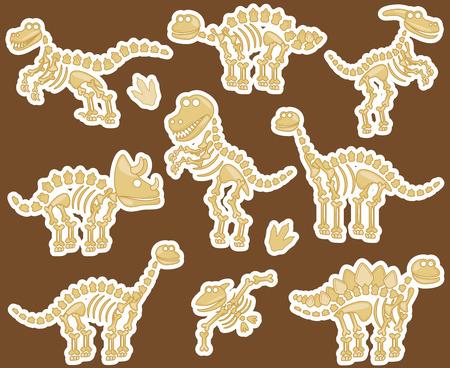 paleontologist: Collection of Dinosaur Bones Illustration