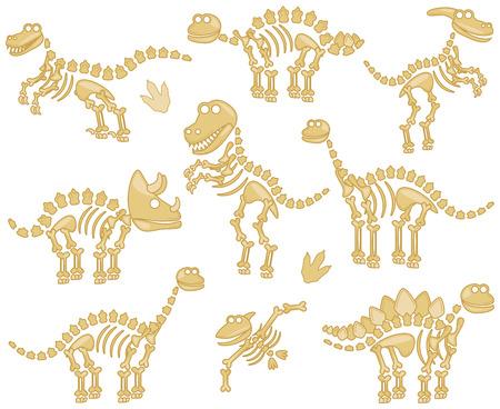 Collection of Dinosaur Bones Illusztráció